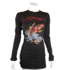 Ed Hardy Womens  Basic Koi Crew Neck Tee Shirt-Black