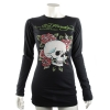 Ed Hardy Womens  Basic Skull and Rose Crew Neck Tee Shirt-Black