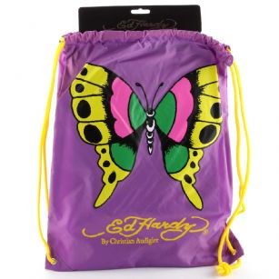 "Ed Hardy Drew  Drawstring Butterfly  Bag - Purple - The Ed Hardy�Drawstring�Butterfly��Bag rocks a tattoo-inspired design that will keep you on the cutting edge of fashion. This backpack's� colorful eye-catching artwork integrates fashion with function, producing a backpack that is far cry from ordinary. Front features the ""Butterfly"" tattoo in�Brilliant color. Easy and lightweight includes a back zipper and yellow straps for easy carrying. This is perfect for traveling or everyday use!"
