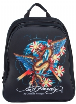 Ed Hardy Nina Snake Computer Backpack - Black