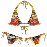 Ed Hardy Tiger Rose Rhinstone Womens Swimwear Set - Red