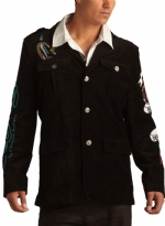 Ed Hardy Mens Born Free Eagle Velvet Blazer Jacket - Black