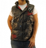 Ed Hardy Mens Flaming Skull Puffer Vest - Black