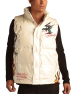 Ed Hardy Mens Flaming Skull Puffer Vest - White