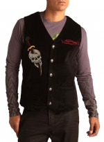 Ed Hardy Mens Cobra Embroidered Velvet Vest - Black