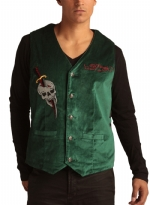 Ed Hardy Mens Cobra Embroidered Velvet Vest - Forest