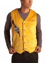 Ed Hardy Mens Cobra Embroidered Velvet Vest - Gold
