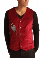 Ed Hardy Mens Cobra Embroidered Velvet Vest - Wine