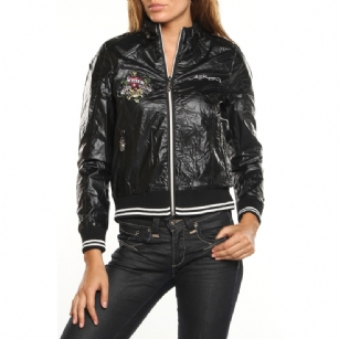 "Ed Hardy Women's Love Kills Windbreaker Jacket - Black - Show off some classic style in this Ed Hardy Women's�Love Kills��Windbreaker�Jacket�that features embroidered Love�Kills Slowly�graphic with rhinestone details�at front and back� in brilliant color.��Mesh lining for temperature regulation and comfort. Front zipper with� snaps on top�,�ribbed hem and cuff. Gold Hardware. �It also has printed text with the words ""Ed Hardy""� and ""Ed�Hardy by Christian Audigier�"" . This Ed Hardy Jacket is a must�to have�in your winter wardrobe!"