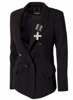 Ed Hardy Women's Long Sleeve Fitted Double Breasted Blazer - Black