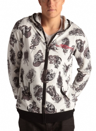 Ed Hardy Tattoo Mens Zip Up Hooded Sweater - Off White - This Ed Hardy Tattoo Mens Zip Up Hooded Sweater, Feautres all over tattoo print, zipper clusure, two side Pockets, Embroidered logo,