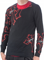 Ed Hardy Mens Panther Cross Crew Neck Sweater - Black