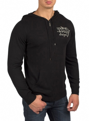 Ed Hardy Mens Bulldog Hoodie  Zip Up Sweater -Black - A�Bulldog graphic print highlights this fashionable Ed Hardy Bulldog�Hoodie Sweater. Front pockets and a zipper closure finish this hooded, long-sleeve sweater. Don Ed Hardy signature in the front.