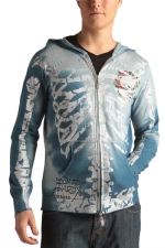 Ed Hardy Mens Skeleton Zip Up Hooded Sweater - Blue