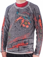 Ed Hardy Mens Graffiti And Fire Studded Sweater - Black