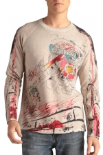 Ed Hardy Mens Graffiti And Fire Studded Sweater - White