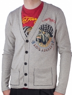 Ed Hardy Mens Bulldog Buttoned Sweater - Heather Grey