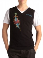 Ed Hardy Mens Snake Eagle V-Neck Vest Sweater - Black
