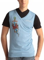 Ed Hardy Mens Snake Eagle V-Neck Vest Sweater - Cadet