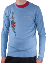 Ed Hardy Mens Snake Eagle Sweater - Cadet