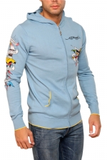 Ed Hardy Mens Zip Up Hooded knit Sweater - Cadet