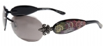 Ed Hardy EHS-014 Three Old School Roses Sunglasses - Black/Gray