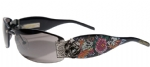 Ed Hardy EHS-020 Skull Butterflies Sunglasses - Black/Gray