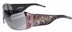 Ed Hardy EHS-022 Skull & Cherry Blossoms Sunglasses - Gun/Gray