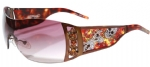 Ed Hardy EHS-022 Skull & Cherry Blossoms Sunglasses - Cocoa/Brown
