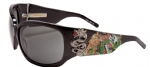 Ed Hardy EHS-025 Geisha & Dragon Sunglasses - Black/Gray