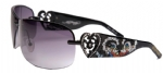 Ed Hardy EHS-031 Skunk Black & Purple Sunglasses - Black/Gray