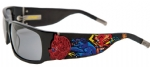Ed Hardy EHS-036 Devil on Panther Flat Sunglasses - Black/Gray
