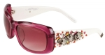 Ed Hardy Women's EHS-047 Catcher Crystal Skulls Sunglasses - Passion Pink