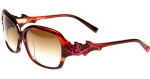 Ed Hardy EHS Rose With Thorns Women's Sunglasses - Burgandy Horn