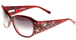 Ed Hardy EHS Sakura Flowers Women's Sunglasses - Dark Red Horn