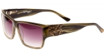 Ed Hardy EHS Tiger Mouth Men's Sunglasses - Olive Horn