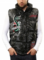 Ed Hardy Mens Sleeveless Puffer Jacket - Black