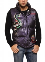 Ed Hardy Mens Sleeveless Puffer Jacket - Purple