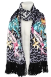 Ed Hardy Womens Panther  Knit Scarf -Lavender/Black