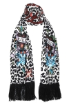 Ed Hardy Womens LKS Knit Scarf - Off White/Black