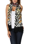 Ed Hardy Womens Skull Knit Scarf - Off White/Black