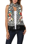 Ed Hardy Womens Heart/Dagger  Knit Scarf - Off White/Black