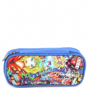 Ed Hardy Tyler All Over Large Pencil Case - Blue - It's time for back-to-school shopping� be as fashionable with school supplies as with clothing with this Ed Hardy Tyler All Over Large Pencil Case - Blue This super cute Ed Hardy case� features, All Over graphic design and zipper closure to keep your belongings safe and secure.�Your little princess will be thrilled�and will definitely steal the show on the first day of school!�