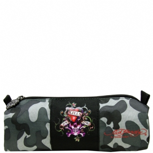 Ed Hardy Jude Love Kills Slowly Small Pencil Case - Grey Camo - It's time for back-to-school shopping� be as fashionable with school supplies as with clothing with this Ed Hardy�Jude�Love Kills Slowly�Pencil Case. This super cute Ed Hardy case� features,�Love Kills Slowly�graphic design and zipper closure to keep your belongings safe and secure.�Your little�one will be thrilled�and will definitely steal the show on the first day of school!�