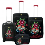 Ed Hardy France Eternal Love 4 Piece Luggage Set - Black