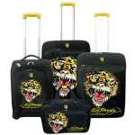 Ed Hardy France Tiger 4 Piece Luggage Set - Black