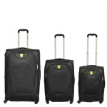 Ed Hardy Geneva Embossed Tiger 3 Piece Luggage Set - Black