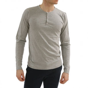 Bottoms Out Henley Grey T Shirt - Keep it simple in this solid  Bottoms Out Henley Tee shirt designed for all your athletic activities.  Solid color for a great look. Features a 4 Button Placket. Long sleeves.