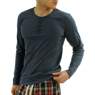 Bottoms Out Henley Ink T Shirt - Keep it simple in this solid  Bottoms Out Henley Tee shirt designed for all your athletic activities.  Solid color for a great look. Features a 4 Button Placket. Long sleeves.