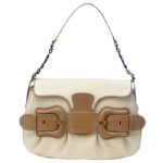 Fendi 8BR551 Canvas B-Bag -  White/Camel